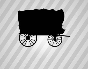 wagon Silhouette - Svg Dxf Eps Silhouette Rld RDWorks Pdf Png AI Files Digital Cut Vector File Svg File Cricut Laser Cut