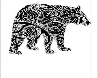 Black Bear Papercut Template Bear Grizzly - Svg Paper Cut Templates Stencil Line Art Henna Mandala Pdf Cut Files Digital Clip Art Drawing