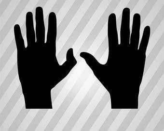 hands Silhouette - Svg Dxf Eps Silhouette Rld RDWorks Pdf Png AI Files Digital Cut Vector File Svg File Cricut Laser Cut