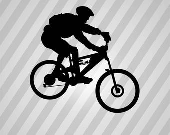 mountain biker silhouette svg dxf eps silhouette rld rdworks pdf png ai files digital cut