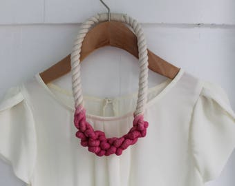 Nautical Hand Dyed Pink Rope Necklace