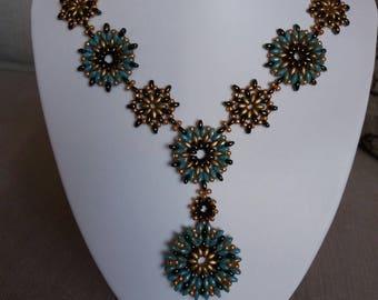 Seed bead mandala necklace