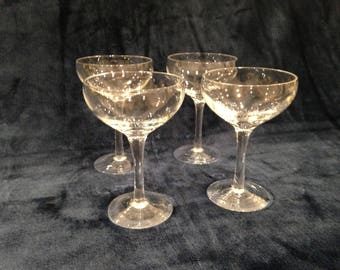 Set of four vintage champagne coupes. Circa 1930s