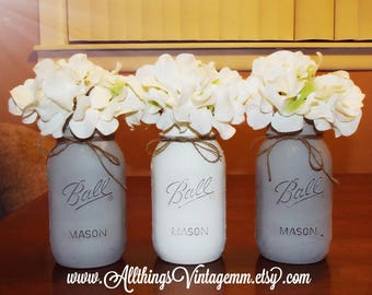 Mineral gray and white painted mason jars,Mason jar centerpiece,Mason jar decor,farmhouse decor,rustic decor,wedding centerpiece,