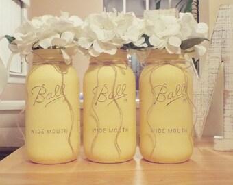Set of 3 half gallon painted mason jars,mason jar decor,farmhouse decor,baby shower,mason jar centerpiece,yellow mason jars,yellow decor