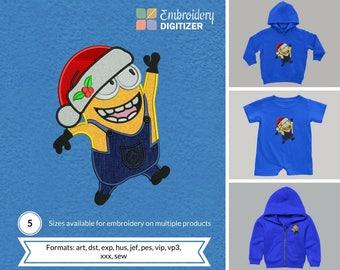 Minion Santa Applique Embroidery Design