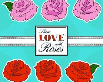 Roses Clipart pack 300 DPI, PNG