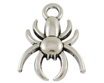 lot 10 13 * 16 mm silver spider charms