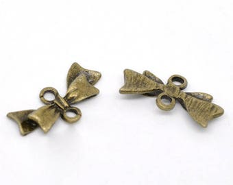 set of 10 bow charms bronze 20X10mm