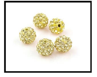 X 10 pearls shamballa 10mm yellow rhinestone crystal clear/yellow pastel.