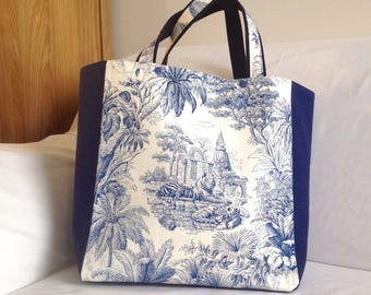 Bag Tote Toile de Jouy blue