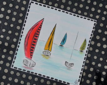 Map postcard hand colored painting is sailboats