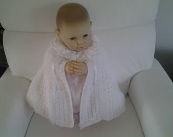 cape bébé de baptême au  crochet