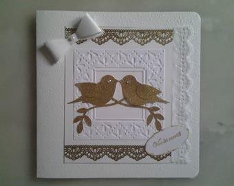 white gold wedding card