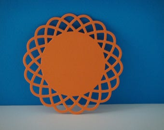 Round cut orange lace trim with foam for creation or coasters