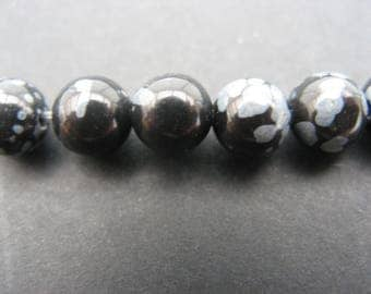 10 pearls of Obsidian snow 8 mm-