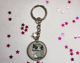 """Keychain Metal free shipping """"Birdcage"""" glass Cabochon"""