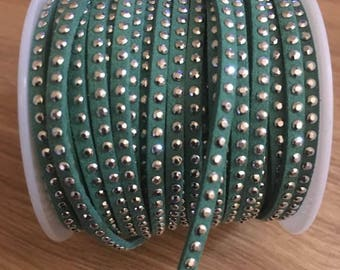 2 meters of 3 mm watery green color suede cord
