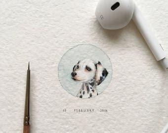 The vintage portrait of Dalmatian dog