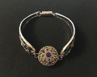 Bracelet métal argenté filigrané avec bouton pression interchangeable 5,5mm