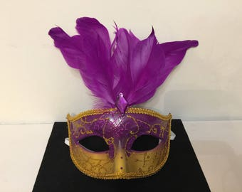Purple Carnival Venetian mask gold rhinestone feathers