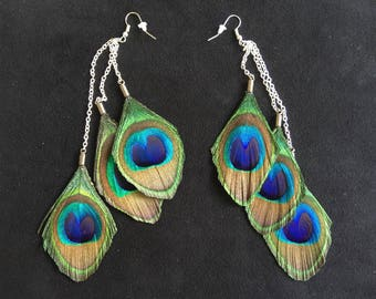Chic earrings 16 cm peacock feathers