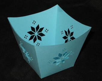 Light blue snowflake paper candle jar