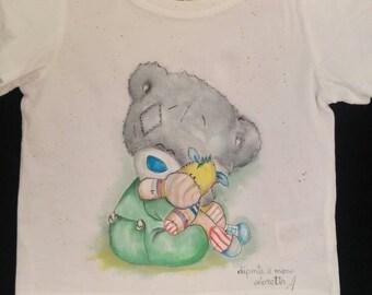 T-shirt dipinta teddy bear- maglietta orso del cuore fumetto - Maglietta colorata per neonato - regalo compleanno neonato - regalo originale