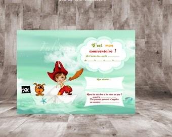 """Cartes d'invitation pour anniversaire 14 x 10cm"""" Thème Pirate """""""