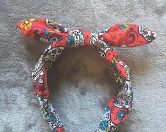 Red Sugar Skull Bandanaband