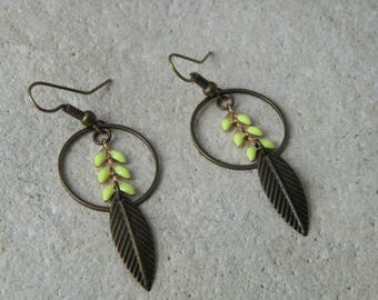 Yellow enamel ears 2 chain earrings