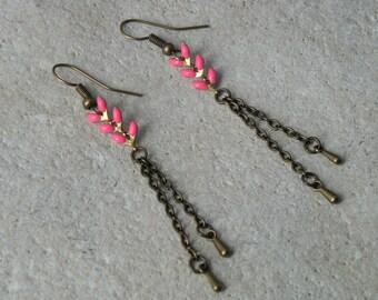 Earrings chains enamel ears 4 fuchsia