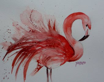 watercolor beautiful Flamingo Pink