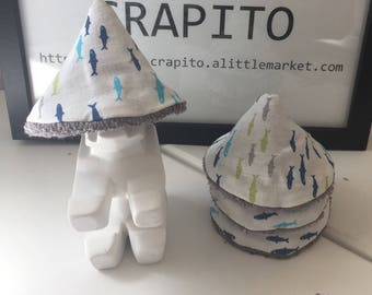 SET of 8 or 12 teepee pee, Tepee with penis cone pee pee shield - Collection * Plop plop fish *.