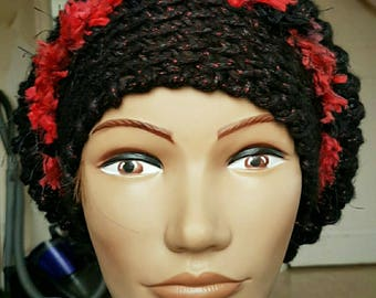 Red and black crocheted flower beanie Hat