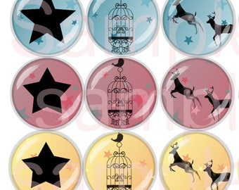 60 Digital Pictures Star-shaped 13-18mm / 18-25mm / 20mm / 25mm