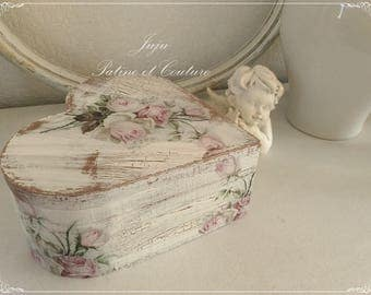 In the shape of heart or Shabby Chic jewelry box wooden boxes