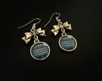Aztec, 12mm, Aztec blue glass cabochon earrings