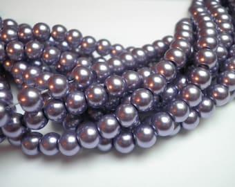 25 beautiful purple 6 mm glass pearls