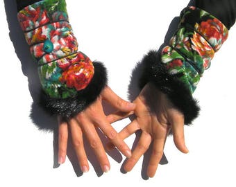 Arm warmers women, sleeve/fingerless gloves - mittens and Gloves - Armwarmers, Gypsy, Bohemian - flowers and fur