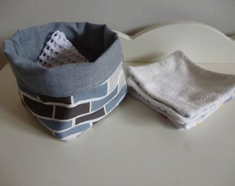 Fabric basket with washable wipes and net set