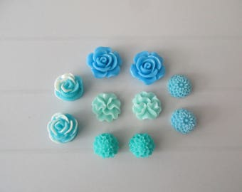 10 resin cabochons flowers to paste blue colors