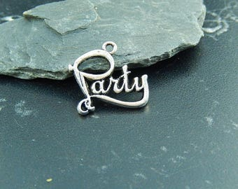 2 silver plated PARTY charms
