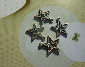 4 charms double star pendant hollow 23x21mm