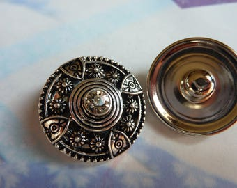 1 button pressure cabochon round flowers with Rhinestones in silver plated 30mm