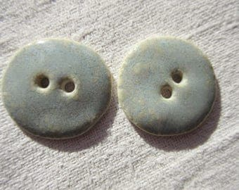 Set of 2 round buttons blue speckled