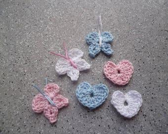 6 pretty hearts and butterflies in cotton crochet handmade