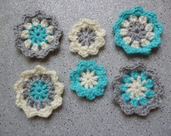 6 flowers in wool crochet 5 cm