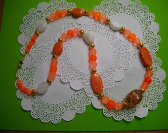 Orange frosted Bead Necklace