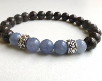 Jasper and aquamarine, semi precious stone bracelet